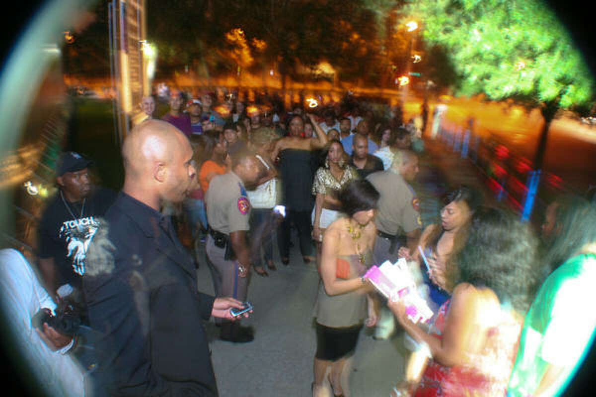 PARTYING THRONG: More than 400 guests lined up outside the Contemporary Arts Museum Houston for the night of musical celebration.