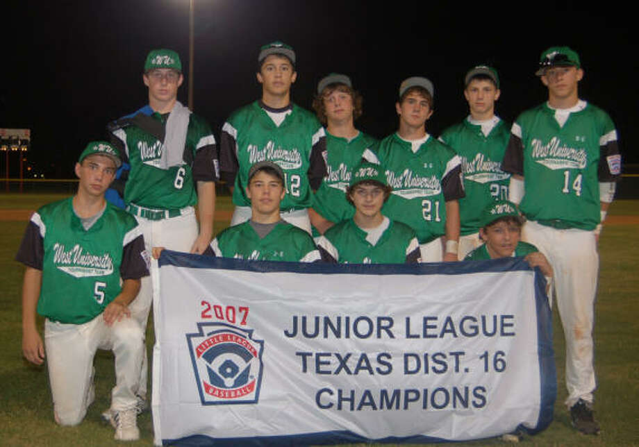 The West University Little League Junior tourament team includes, back from left, Michael Resnick, Matt Luna, Blake Goldberg, Cameron Neal, Travis Gauntt, John Williamson; and, front, Evan Fichter, Sam Mason, Connor Knapp, Ryan Farney. The team is managed by Andrew Goldberg, who is assisted by coaches Gary Lankford and Bob McLamb. Photo: Courtesy Of West U. Little Leagu