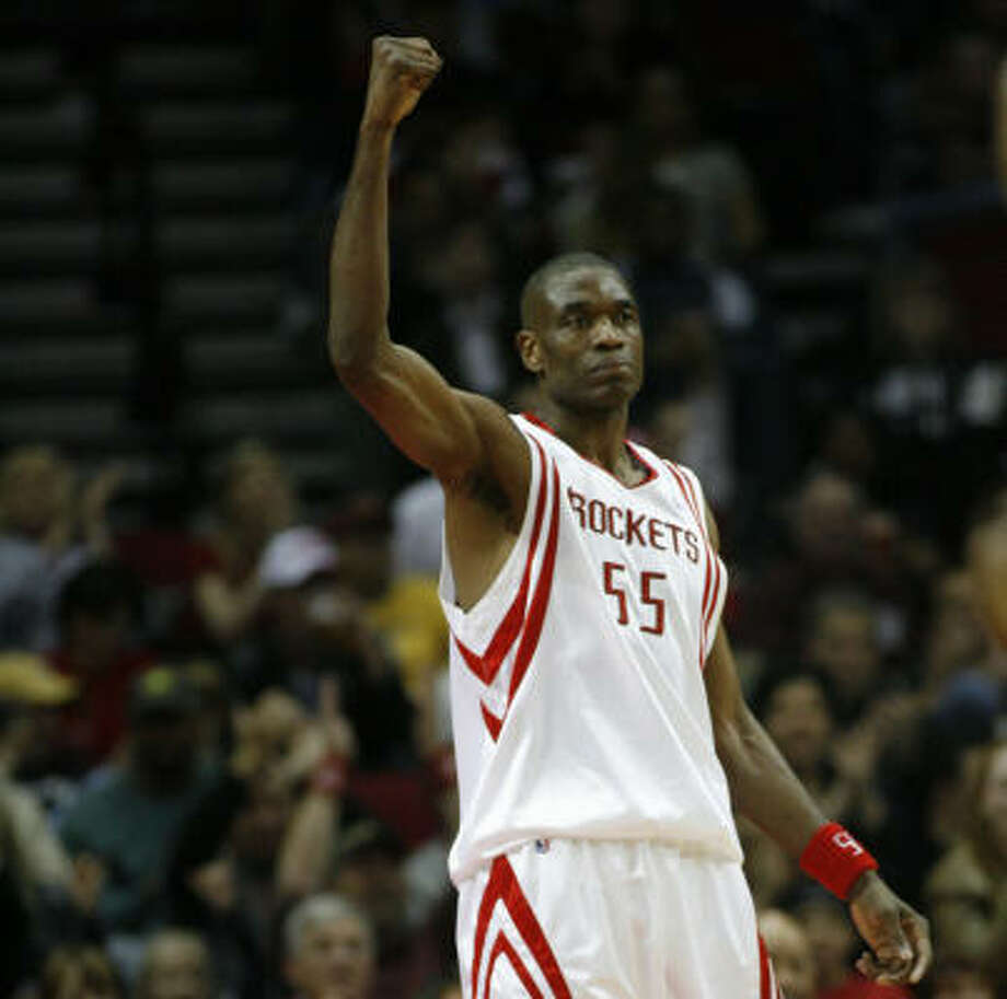 Dikembe Mutombo and the Rockets erased on of their largest deficits of the season. Photo: Kevin Fujii, Chronicle