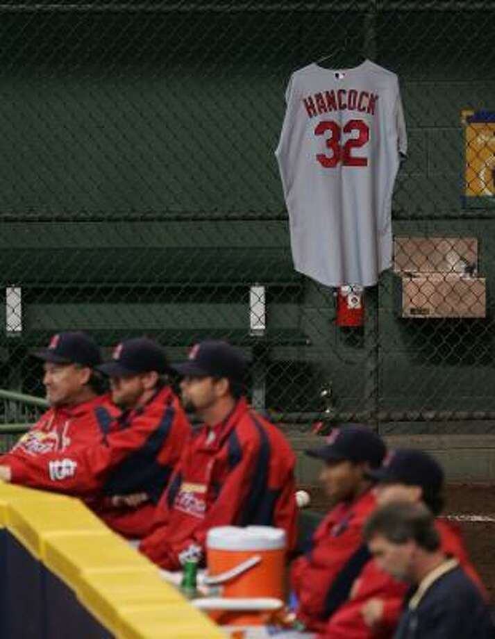 Josh Hancock's jersey hangs in the bullpen during the Cardinals' loss to the Brewers. Photo: JONATHAN DANIEL, GETTY IMAGES