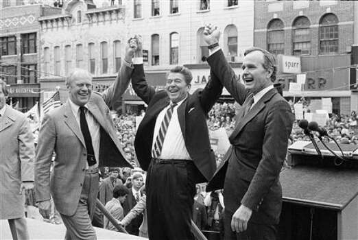 "Former President Gerald R. Ford lends support to 1980 presidential candidate Ronald Reagan and running mate George H.W. Bush. Ford later said Reagan was ""probably the least well-informed on the details of running the government of any president I knew."" Photo: AP File"