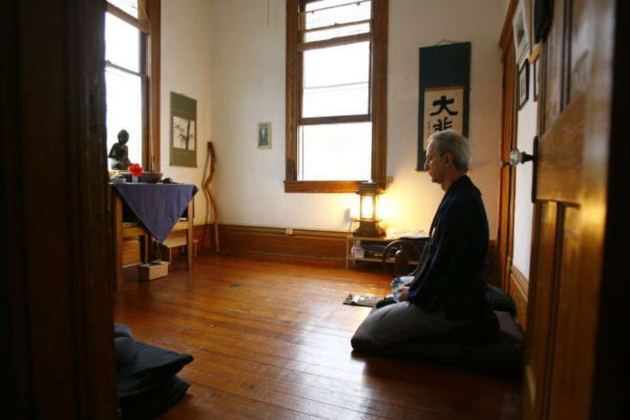 Eric Arbiter, a Zen Buddhist, meditates in a small room on the second floor of his Houston home. He sits in his Zendo every day. Photo: Nick De La Torre, CHRONICLE