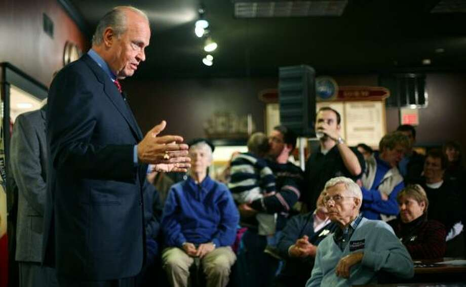 Republican presidential hopeful Fred Thompson speaks at a town hall meeting in Ames, Iowa, recently. Photo: KEVIN SANDERS, ASSOCIATED PRESS