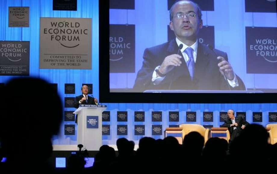 Mexican President Felipe Calderon speaks to the World Economic Forum in Davos, Switzerland, last week. Photo: VIRGINIA MAYO, ASSOCIATED PRESS