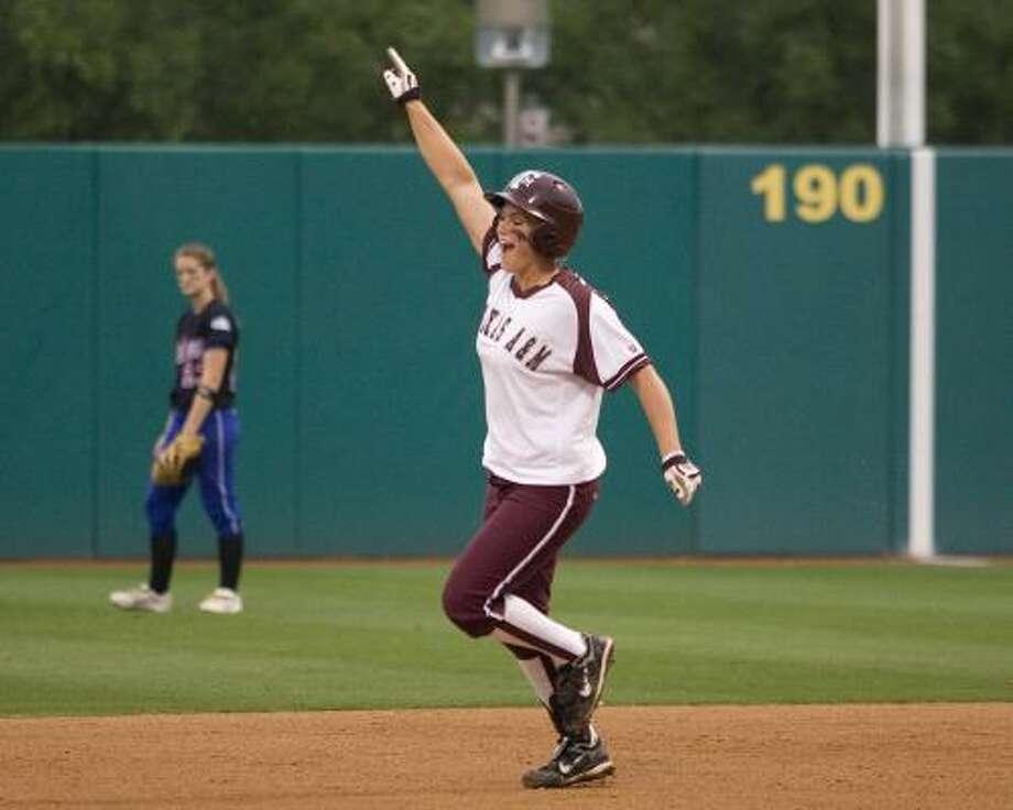 Megan Gibson's third-inning home run gave the Aggies more than enough offense. Photo: GLEN JOHNSON, TEXAS A&M