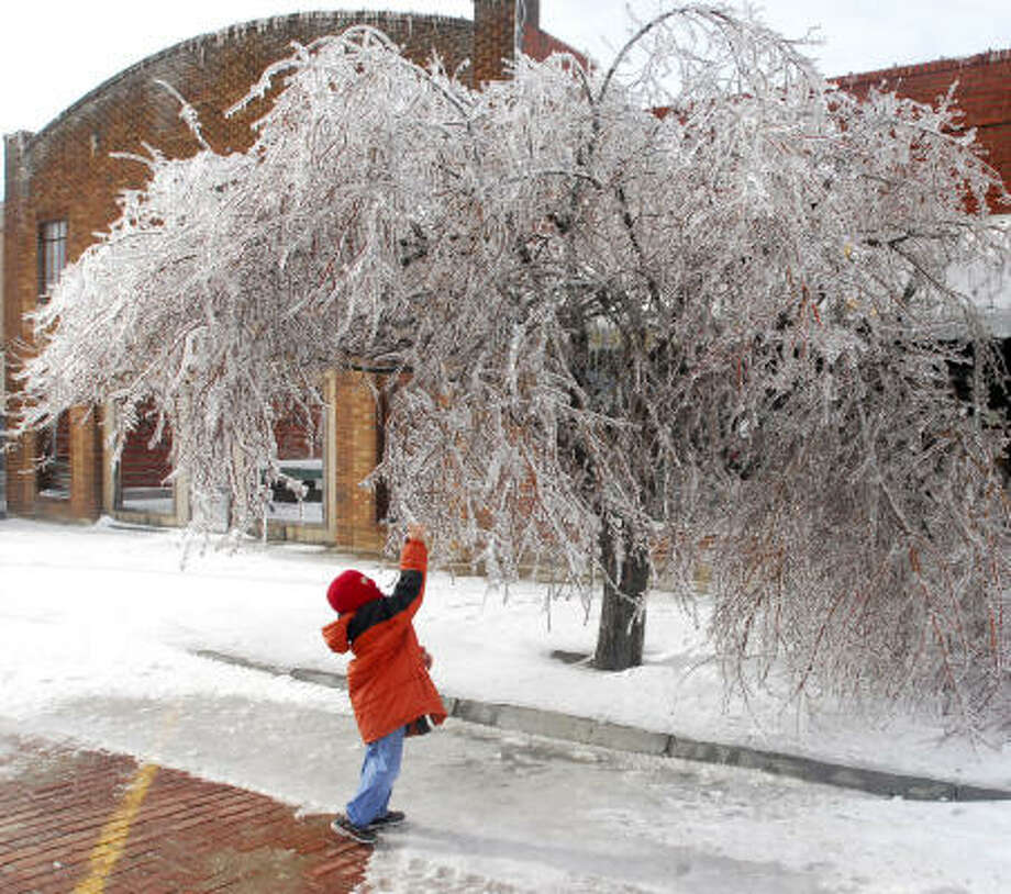 Kyler Henry grabs ice from a tree in WaKeeney, Kan., on Monday after the second of back-to-back storms hit the area. Photo: Steven Hausler, Hays Daily News