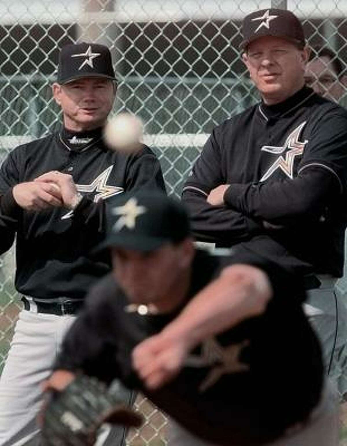 Vern Ruhle, left, with Larry Dierker, helped to develop players like Billy Wagner for the Astros organization.