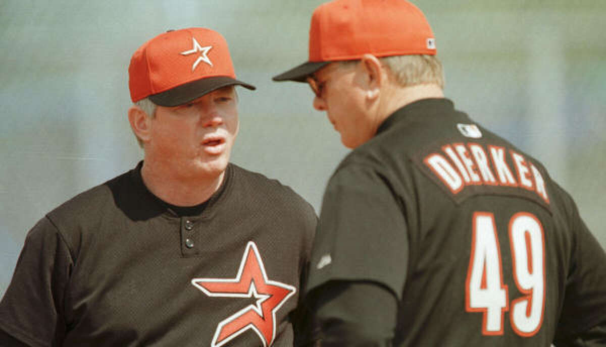 Vern Ruhle, left, shown with former manager Larry Dierker at spring training in 2000, was in the hospital for a stem-cell procedure.