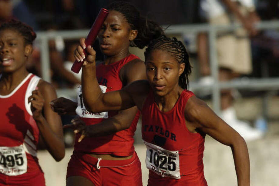 Tara Prier, right, is the lone returner on three of Alief Taylor's sprint relay teams, including two that won state titles last year. Photo: Ronnie Montgomery, For The Chronicle