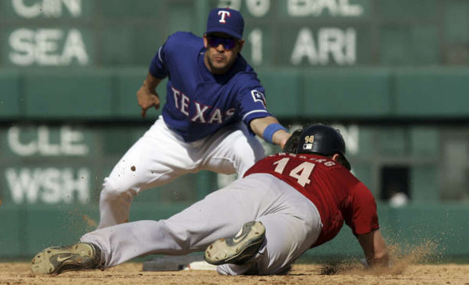 Once again, Arlington was not a safe place for Morgan Ensberg and the Astros against the Rangers. Photo: LM Otero, AP