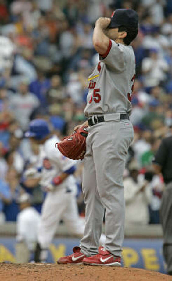 The St. Louis Cardinals pitching staff gave up 17 hits to the Cubs on Monday. Nine of the hits were extra-base hits. Photo: M. Spencer Green, AP