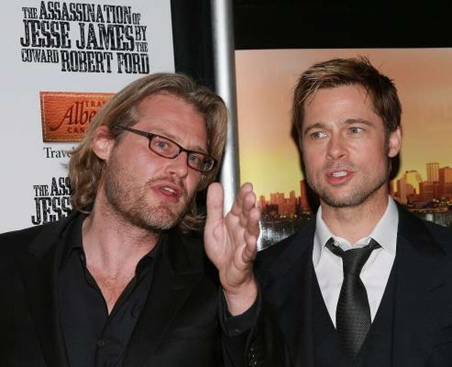 Writer/director Andrew Dominik, left, and actor Brad Pitt turned out recently for the New York premiere of The Assassination of Jesse James by the Coward Robert Ford. The film opens Friday in Houston. Photo: EVAN AGOSTINI, GETTY IMAGES