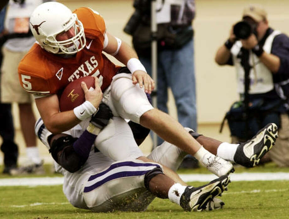 Former UT quarterback Chance Mock is among those trying to latch on with the All American Football League. Photo: Christobal Perez,  Chronicle