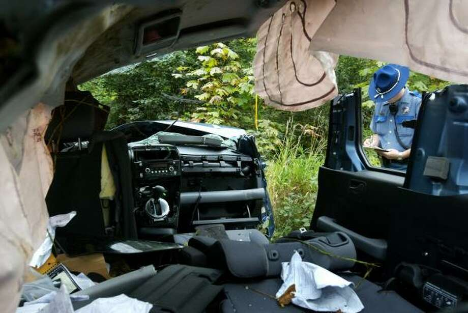 The interior of the Honda Element where Tanya Rider, 33, was trapped for eight days along Maple Valley Road in southeast of Renton, Wash. Photo: Joshua Trujillo, AP