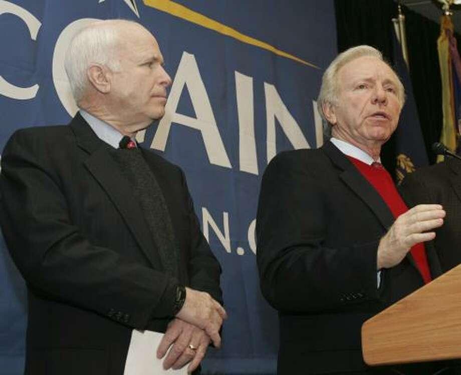 Endorsements, such as from Sen. Joe Lieberman, right, have given a boost to Sen. John McCain, R-Ariz. Photo: JIM COLE, ASSOCIATED PRESS