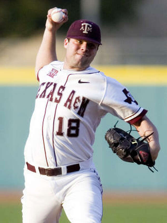 Kyle Nicholson struck out nine Oklahoma St. batters to pick up the win. Photo: Gabriel Chmielewski, The Bryan-College Station Eagle