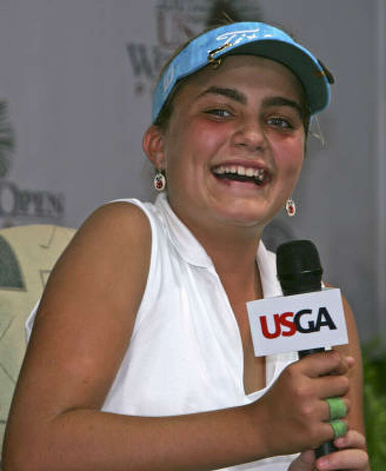 Alexis Thompson, a 12-year-old from Florida, is enjoying her newfound celebrity as the youngest player to take part in the U.S. Women's Open. Photo: Gerry Broome, AP