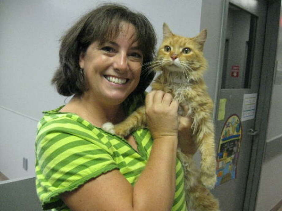 Lori Matthews found her missing cat at the Houston SPCA. Photo: Houston SPCA
