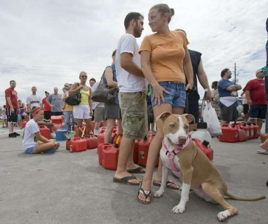 Ashley Gullo waits in line with her dog Mischa for over three hours Monday to fill their containers with gasoline. Photo: Steve Campbell, AP