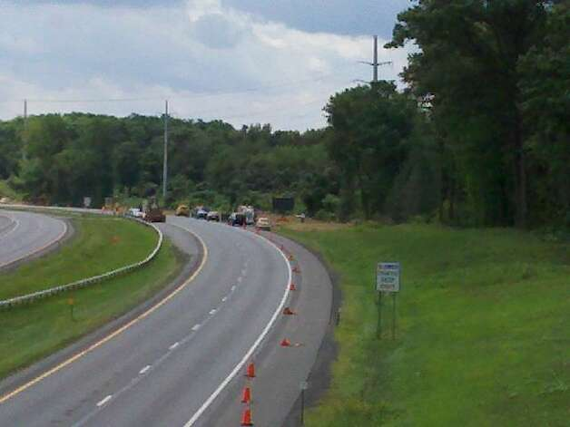 Construction site where a gas line ruptured Wednesday on the Thruway between exits 23 and 24. (Jordan Carleo-Evangelist/Times Union)