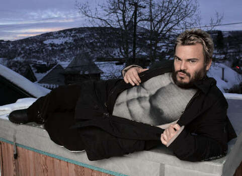 Wearing a T-shirt printed with a photograph of a bare chest, Jack Black poses for a portrait during the Sundance Film Festival in Park City, Utah on Saturday Jan. 19, 2008. Photo: Amy Sancetta, AP