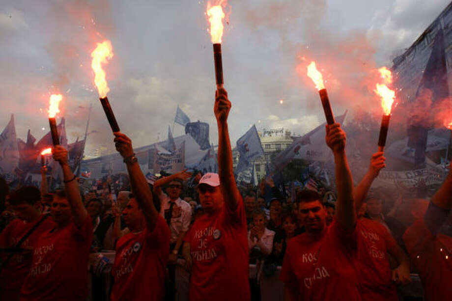 May 11| Democratic Party of Serbia supporters light torches at a rally in the capital's Republic square ahead of Serbia's crucial parliamentary elections. Kosovo declared independence from Serbia February. | Belgrade, Serbia Photo: SRDJAN ILIC, AP