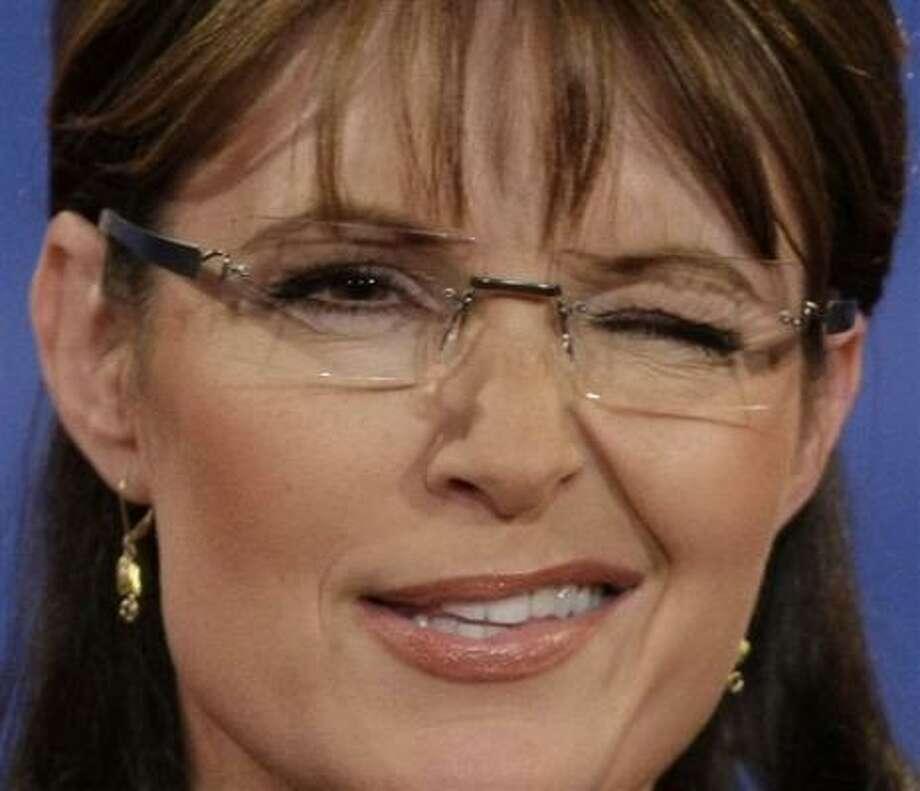 Oct. 2  Republican vice presidential candidate Sarah Palin winks during her vice presidential debate against Democrat Joe Biden at Washington University.   St. Louis, Missouri Photo: J. Scott Applewhite, AP