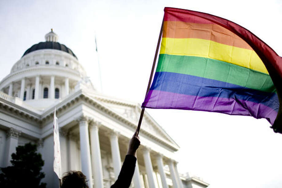 Nov. 22| Supporters of gay marriage rally on the steps of the California State Capitol. The passing of Proposition 8, which made gay marriage illegal in the state, set off simultaneous protests in cities across the U.S. | Sacramento, California Photo: Max Whittaker, Getty Images