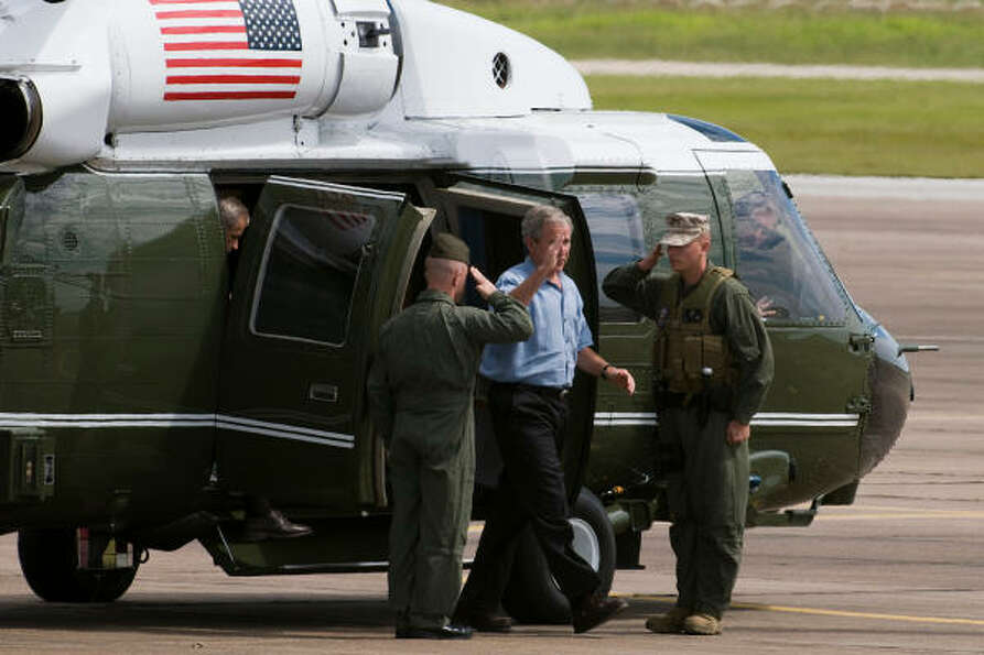 Executive visit  | President George W. Bush arrives on Marine One at Ellington Fiel