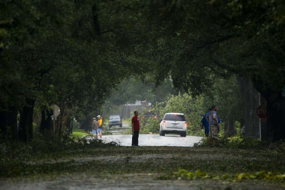 Ground cover| Residents survey the fallen limbs that litter Bayland Avenue in the Heights. | Sept. 13 | Houston Photo: Smiley N. Pool, Houston Chronicle