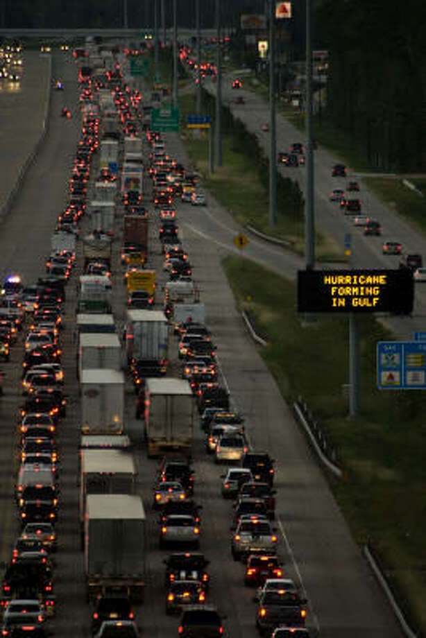 Slow going | Traffic backs up on Interstate 45 northbound as residents evacuate the greater Houston area. | Sept. 11 | The Woodlands Photo: Smiley N. Pool, Houston Chronicle
