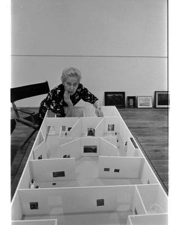 "Dominique de Menil works with a maquette to plan the 1973 exhibition ""Max Ernst: Inside the Sight"" at Rice University. Menil Archives, the Menil Collection. Photography: John Lee Simons Photo: John Lee Simons"