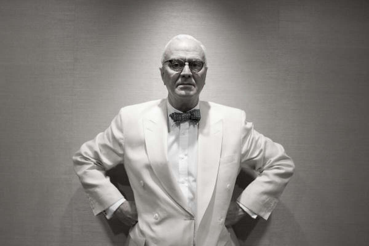 Shoe designer Manolo Blahnik, wearing a linen suit and signature bow tie, visits Neiman Marcus in Houston. He shuttles between homes in London and Milan and oversees the design and production of 400 styles each year.