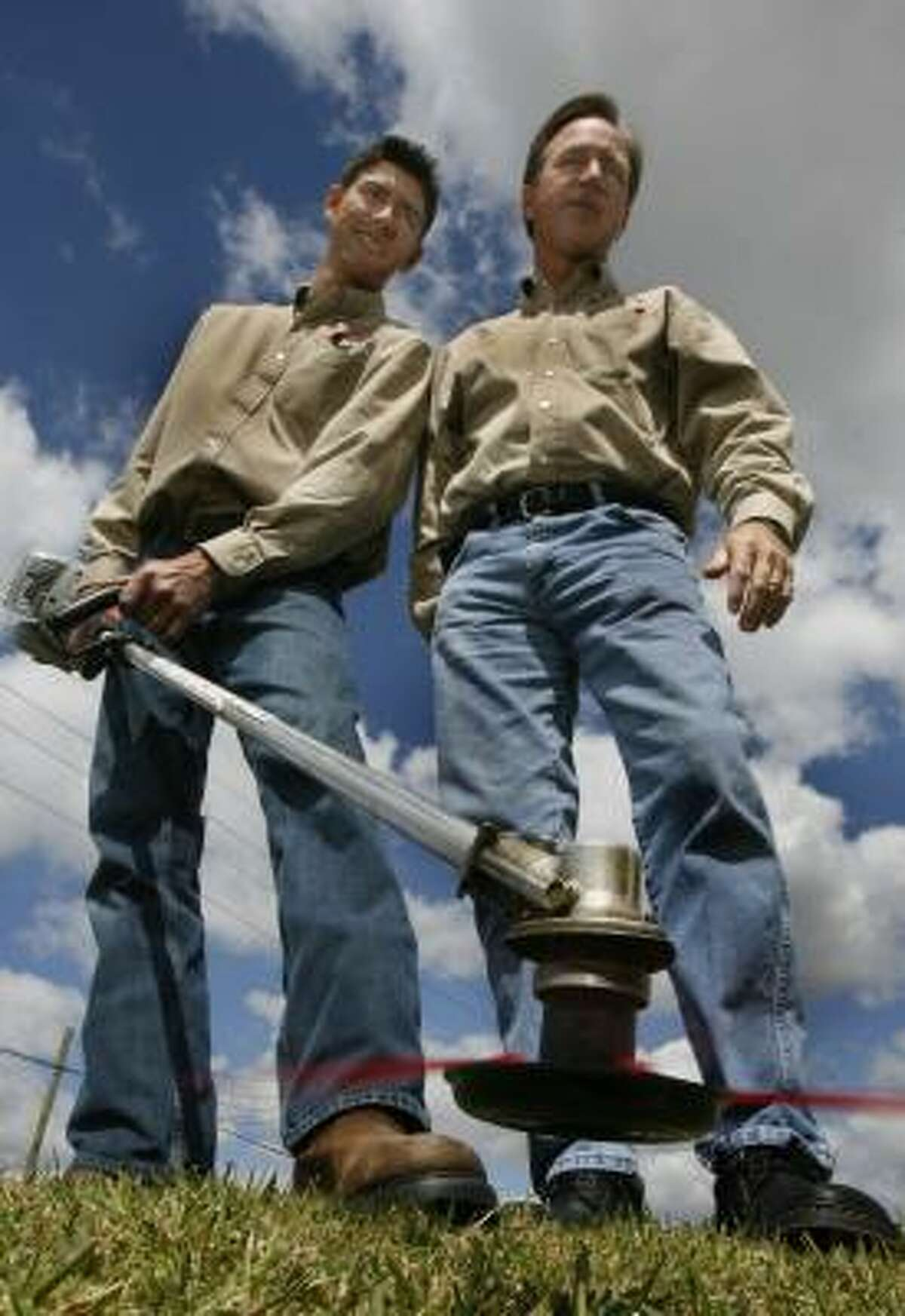 Mike and Dave Watts are marketing their Pivotrim trimmer head replacement for most gasoline-powered weed trimmers.