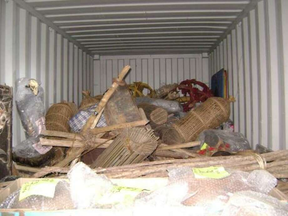 U.S. Customs and Border Protection and the U.S. Fish and Wildlife Service seized items from a sea container belonging to the CBS TV reality series Survivor. Photo: U.S. Customs And Border Protection