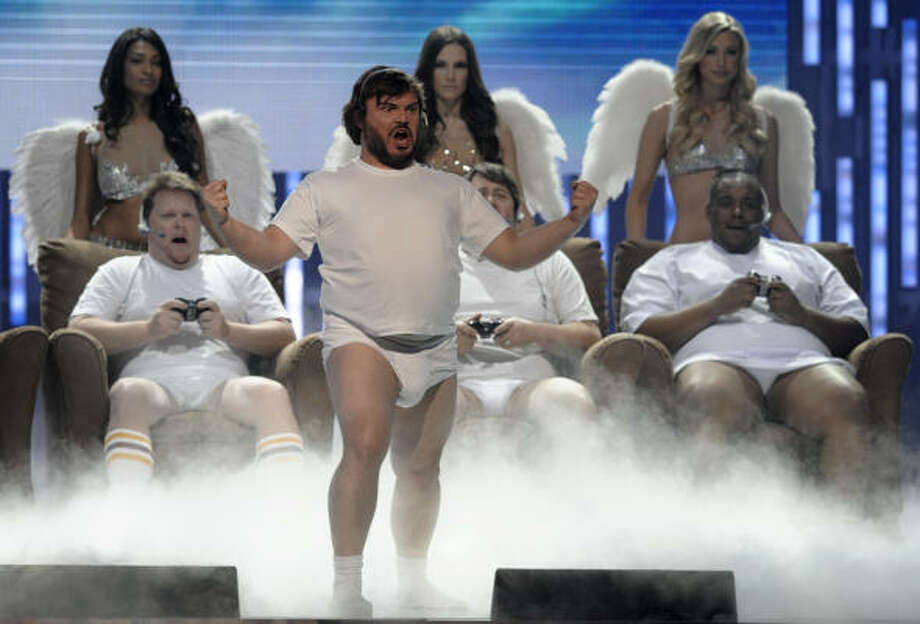 Host Jack Black presented and performed during last night's  awards at Sony Picture Studios. Photo: Chris Pizzello, AP