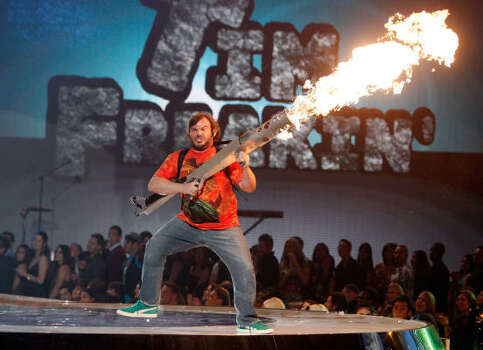 Host Jack Black performs with pyrotechnics. Photo: Kevin Winter, Getty Images For Spike TV