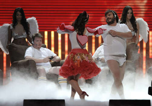 Host Jack Black, right, performs with a dancer at the sixth annual Video Game Awards. Photo: Chris Pizzello, AP