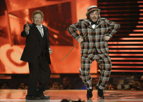 Jerry Stiller, left, and Jack Black perform during the awards show. Photo: Chris Pizzello, AP