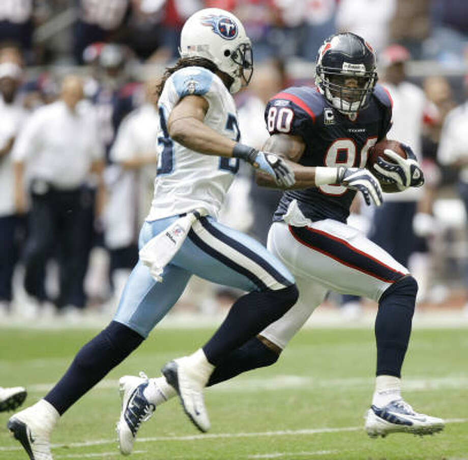 Texans wide receiver Andre Johnson (80) caught 11 passes for a career-high and franchise-record 207 yards to lead Houston to a 13-12 win over the Tennessee Titans on Sunday at Reliant Stadium. Photo: Brett Coomer, Chronicle