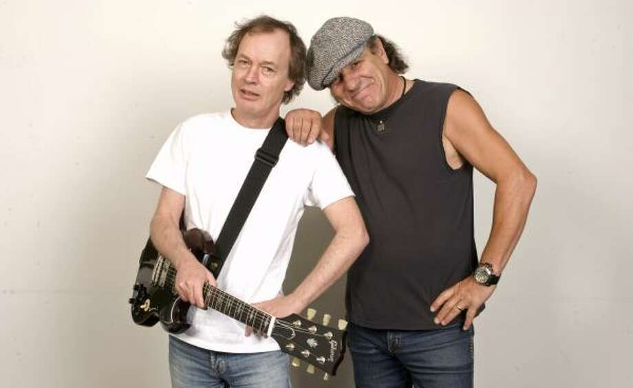 Angus Young, left, and Brian Johnson of AC/DC. Photo: Jim Cooper, AP