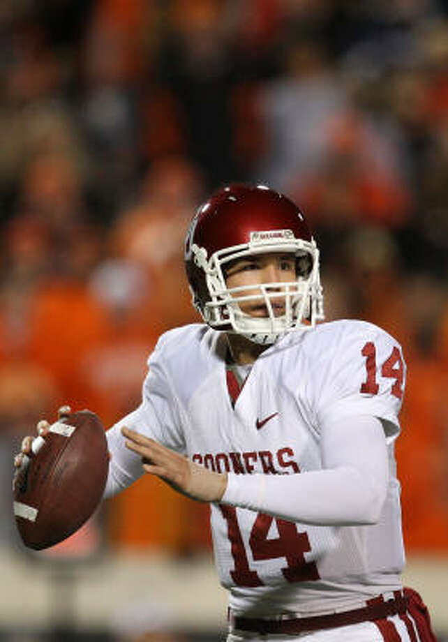 BCS Championship Game, Oklahoma vs. Florida, Jan. 8:Oklahoma quarterback Sam Bradford has thrown for 4,464 yards and 48 touchdowns this season. The Sooners scored at least 61 points in their last five games. Photo: Ronald Martinez, Getty Images