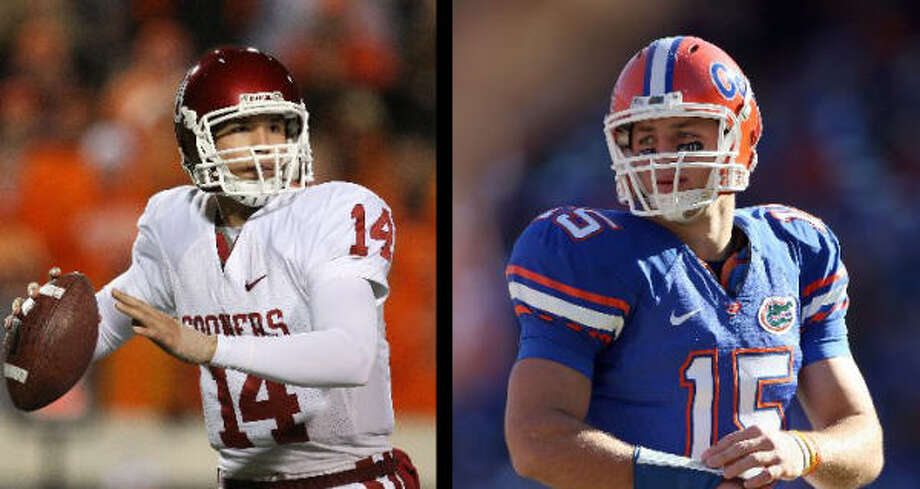 Sam Bradford and the Oklahoma Sooners face Tim Tebow and the Florida Gators in the BCS Championship. Counting this season, OU's four appearances in the national title game are the most of any school. Which two schools are tied for second-most? Choices: A. USC, Florida State, B. Florida State, Ohio State, C. Florida, Ohio State, D. Miami, LSU See the answer.B. Florida State and Ohio State have each appeared in three national title games. Photo: Chronicle File