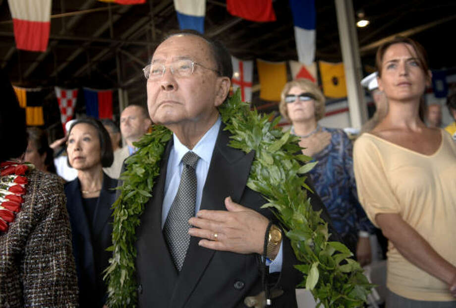 U.S. Sen. Daniel Inouye, D-Hawaii, a World War II medal of honor recipient, is seen at the 67th Anniversary of the Pearl Harbor Commemoration. Photo: Lucy Pemoni, AP