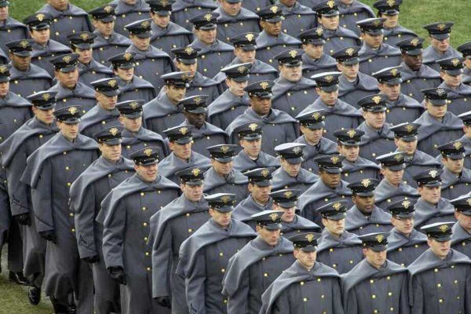 Army Cadets march on the field before the Army-Navy football game at Lincoln Financial Field in Philadelphia. Photo: Matt Rourke, AP