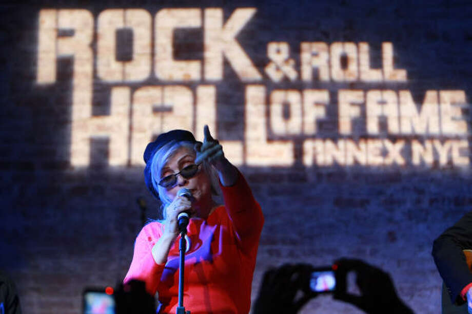 Debbie Harry performs on stage at the grand opening of the Rock and Roll Hall of Fame ANNEX NYC. She's a member of the Hall of Fame as the lead singer of Blondie. Photo: Neilson Barnard, Getty Images