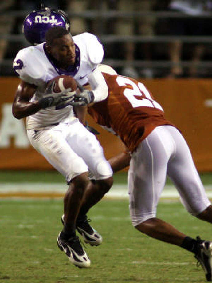 There;s nothing bad about being 2-0, as Texas safety Erick Jackson (21) will assert. Photo: Ron Jenkins, MCT