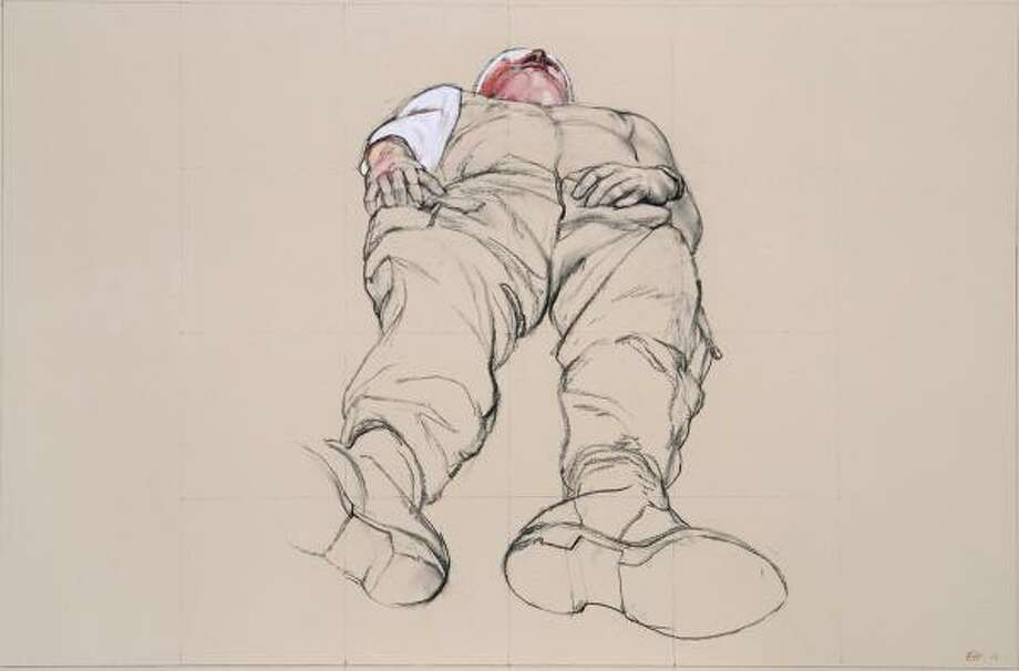 Wounded Soldier, Iraq,2007, is a charcoal and gouache work on view at Moody Gallery. Photo: Moody Gallery