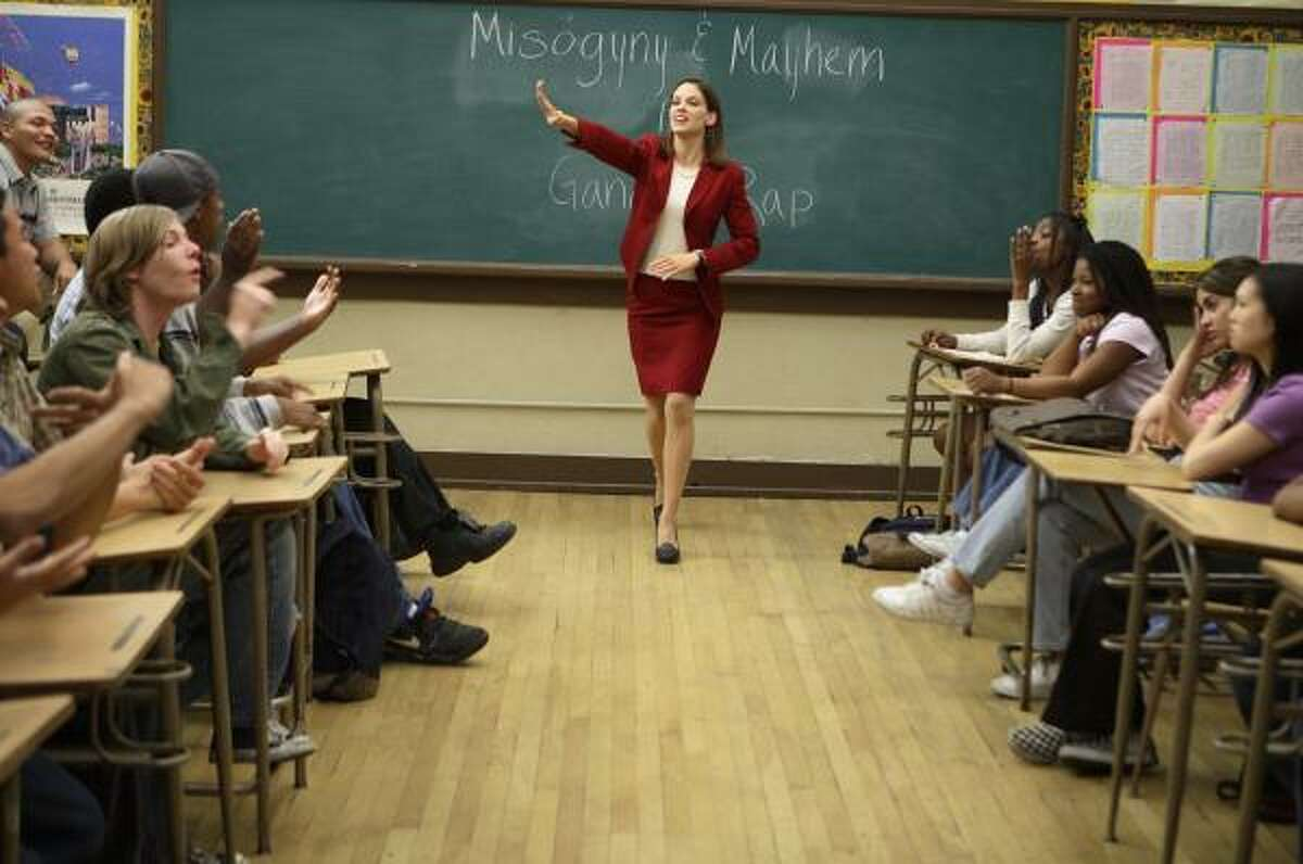 In Freedom Writers, Hilary Swank plays real-life inspirational teacher Erin Gruwell, who encouraged her California high school students to fight for their dreams.