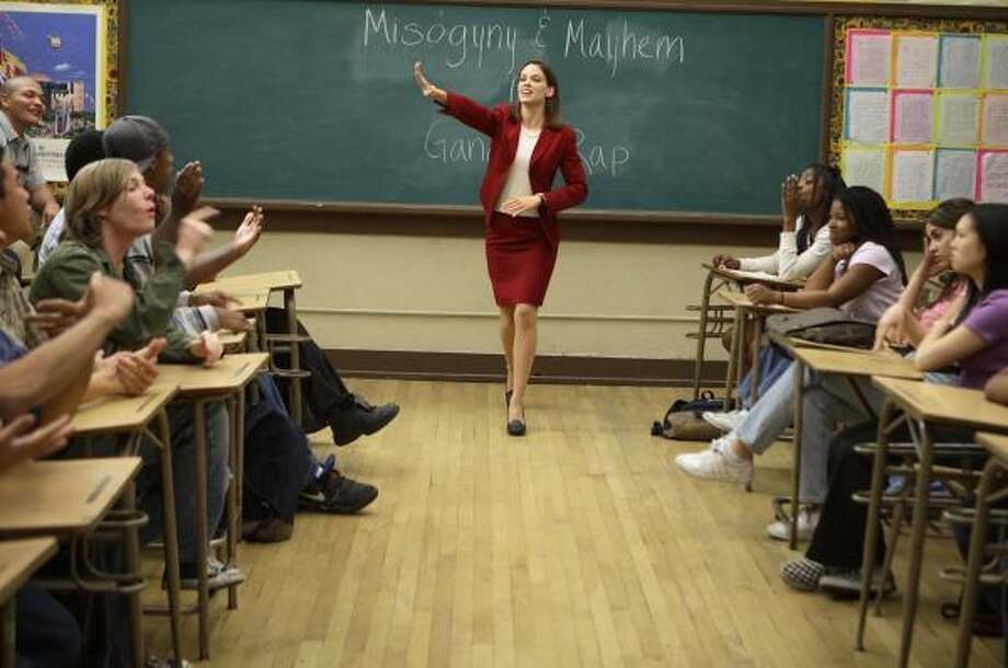 In Freedom Writers, Hilary Swank plays real-life inspirational teacher Erin Gruwell, who encouraged her California high school students to fight for their dreams. Photo: Jaimie Trueblood, Paramount Pictures